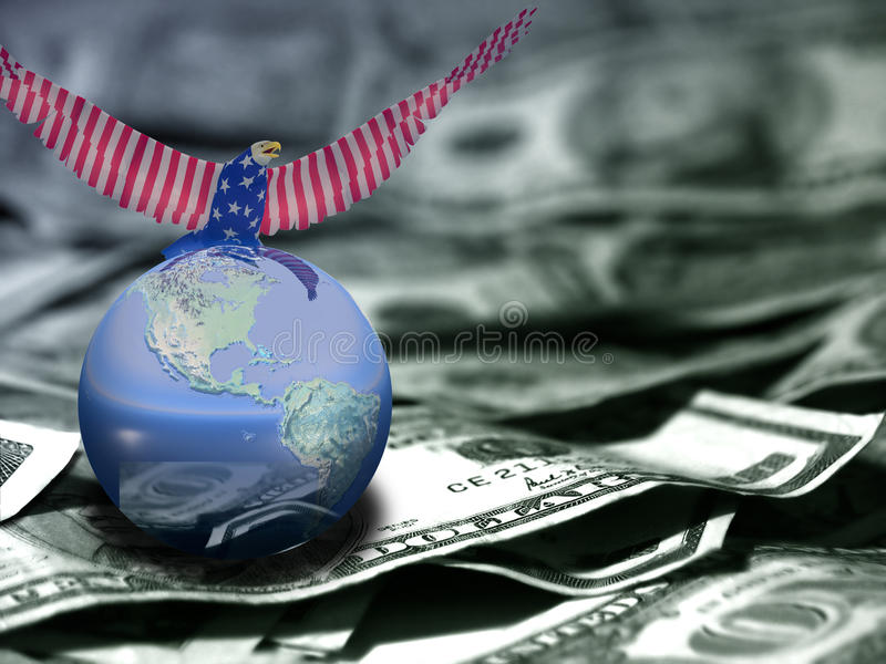 Order. Eagle in national colors sits on a globe. US dollars royalty free illustration
