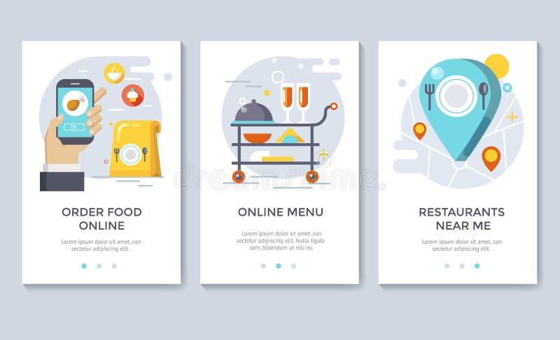 Order food on line banners. Order food on line banners, mobile application design, vector illustration royalty free illustration