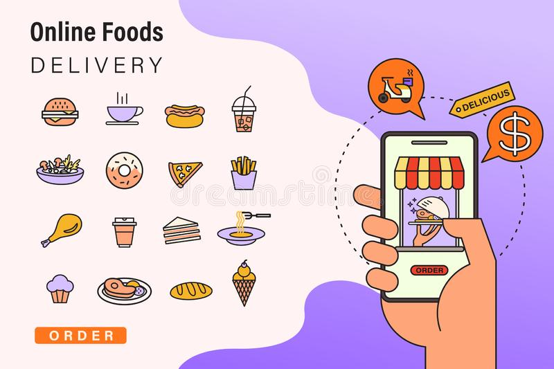 Order foods online from app by smart phone. Fast food delivery. Concept illustration with food icons. Order foods online from app by smart phone. Fast food vector illustration