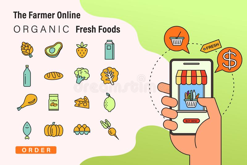 Order fresh organic foods onlin. by smart phone. The Farmer online concept illustration with food and grocery icons royalty free illustration