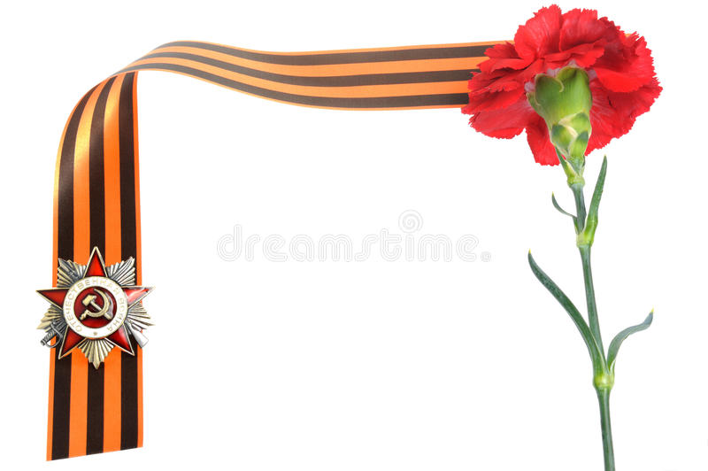 Order of Great Patriotic war, red clove on Saint George ribbon as frame royalty free stock images