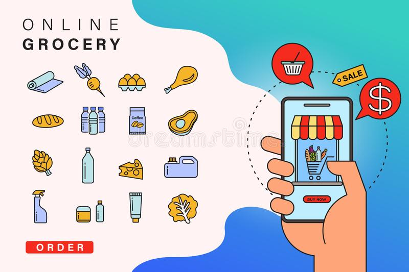 Order grocery online from app by smart phone. Fast delivery. Concept illustration with food and grocery icons, smart phone in hand royalty free illustration