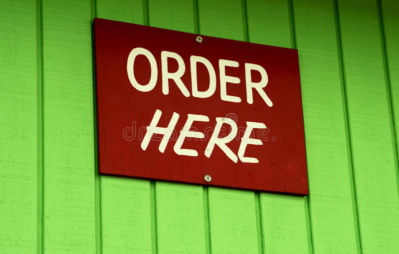 Order here sign stock photo