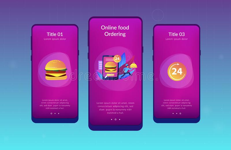 Food delivery service app interface template. Order huge hamburger on tablet available 24 hours and a cook delivering dish. Food delivery service, online food vector illustration