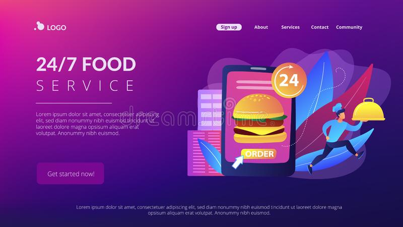 Food delivery service concept landing page. Order huge hamburger on tablet available 24 hours and a cook delivering dish. Food delivery service, online food royalty free illustration