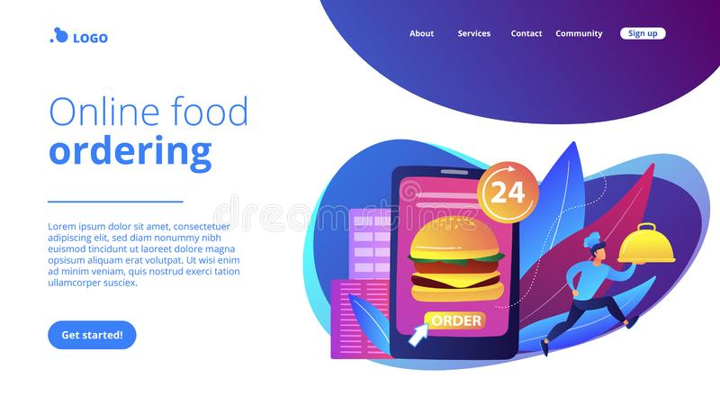 Food delivery service concept landing page. Order huge hamburger on tablet available 24 hours and a cook delivering dish. Food delivery service, online food stock illustration