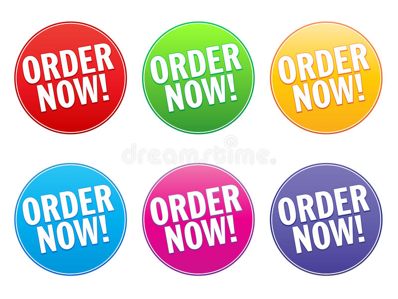 Order Now Label. A set of six labels with the text Order Now! in various colors vector illustration