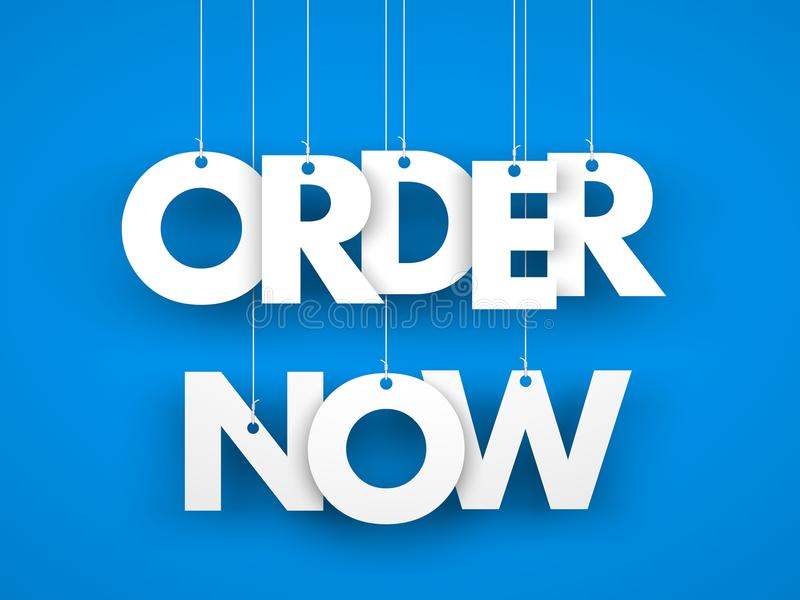 Order now - word hanging on orange background royalty free illustration