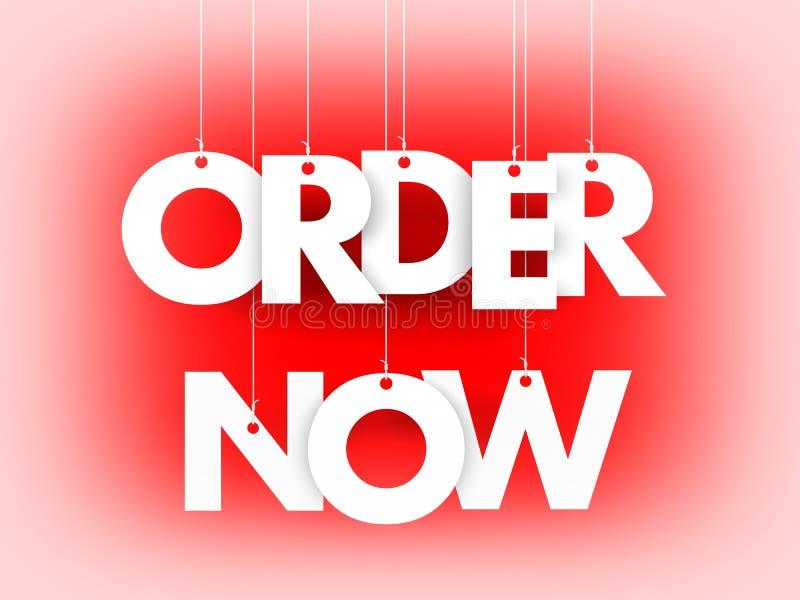 Order now - word hanging on orange background stock illustration