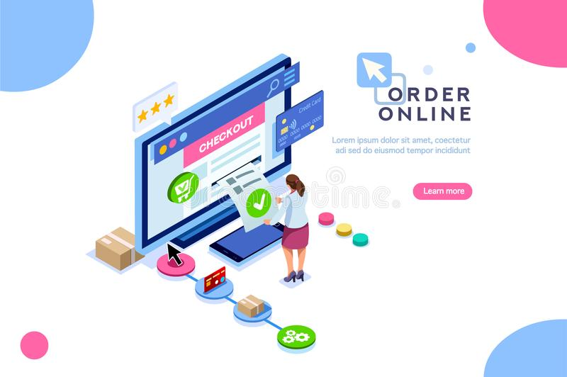 Online Order Customer Purchase Infographic Isometric. Order online concept with character. Customer order, online infographic. Isometric package sell, paying on royalty free illustration