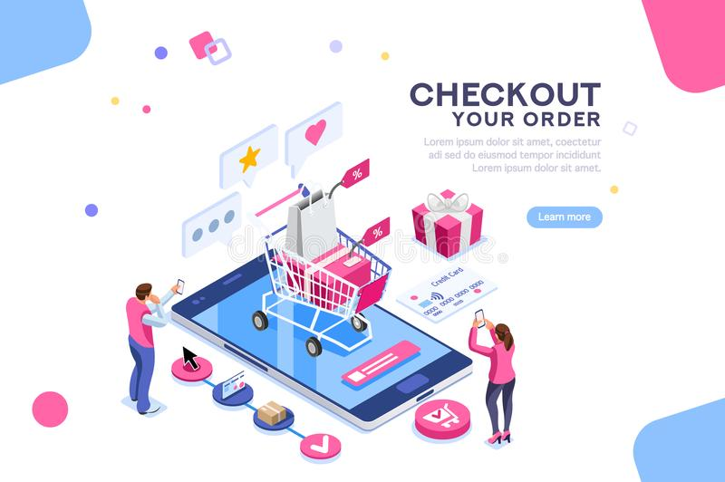 Order Online Concept Isometric Banner. Order online concept with character. Customer order, online infographic. Isometric package sell, paying on screen purchase vector illustration