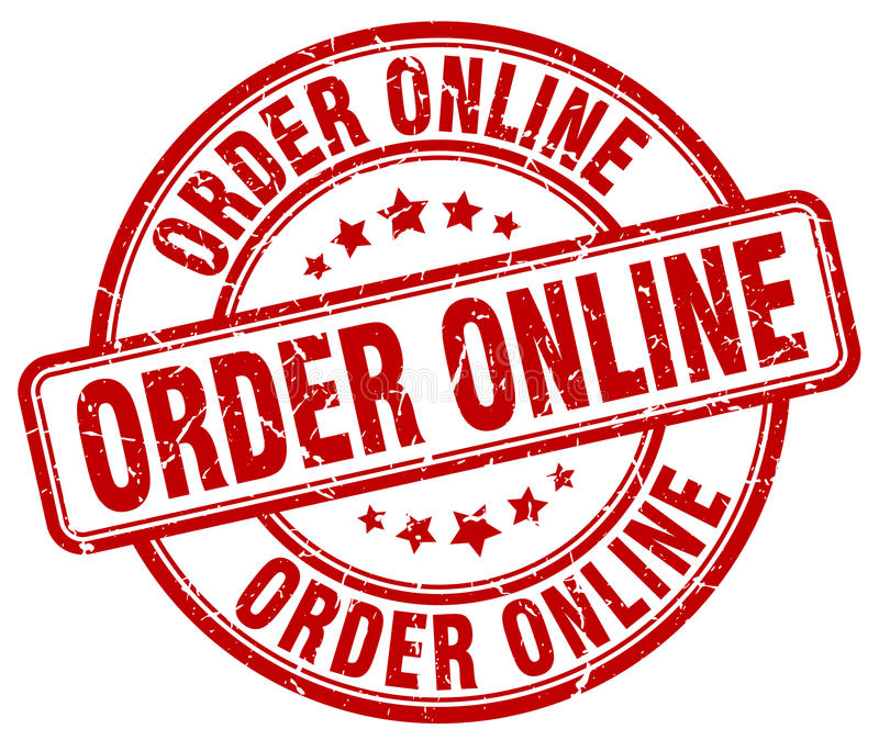 order online red grunge round stamp royalty free illustration