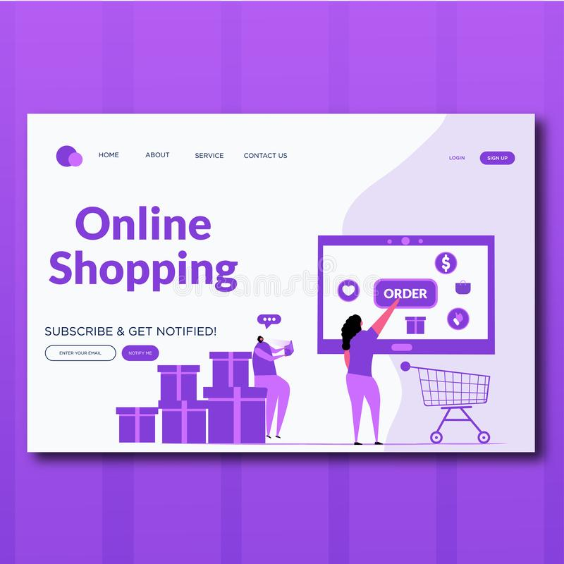 Order online shopping concept with character. Flat illustration. Landing page for web royalty free illustration