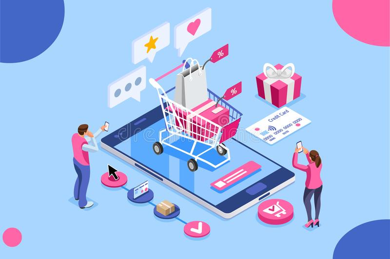 Order Online Shopping Customer Care Credit Card Concept. Order online, shopping concept. Customer character with gift. Mobile pay with credit card. Can use for royalty free illustration