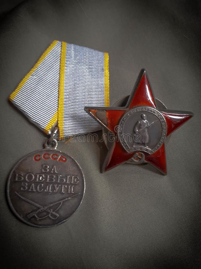 The Order of the Red Star and the merit award. royalty free stock photo
