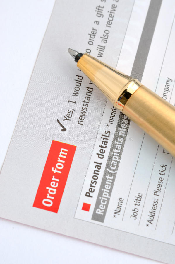 Download Order sheet and pen stock image. Image of survey, fill - 24425269