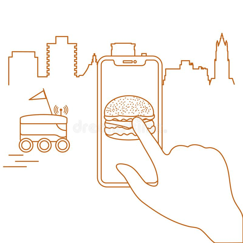 Order in smart phone app, delivery with robot. Order foods and drinks in the application on phone and delivery with a robot. Fast and convenient shipping. Free vector illustration