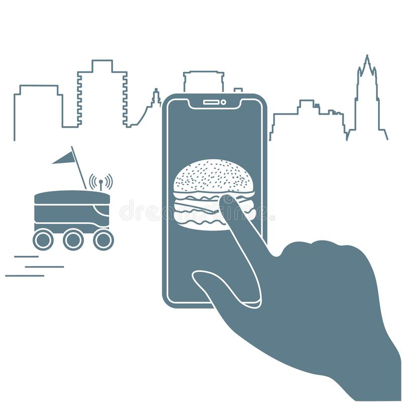 Order in smart phone app, delivery with robot. Order foods and drinks in the application on phone and delivery with a robot. Fast and convenient shipping. Free royalty free illustration