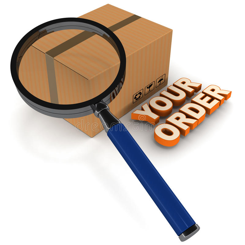 Order status processing. Order status shown as a concept with shipping carton under lens with your order words on floor vector illustration