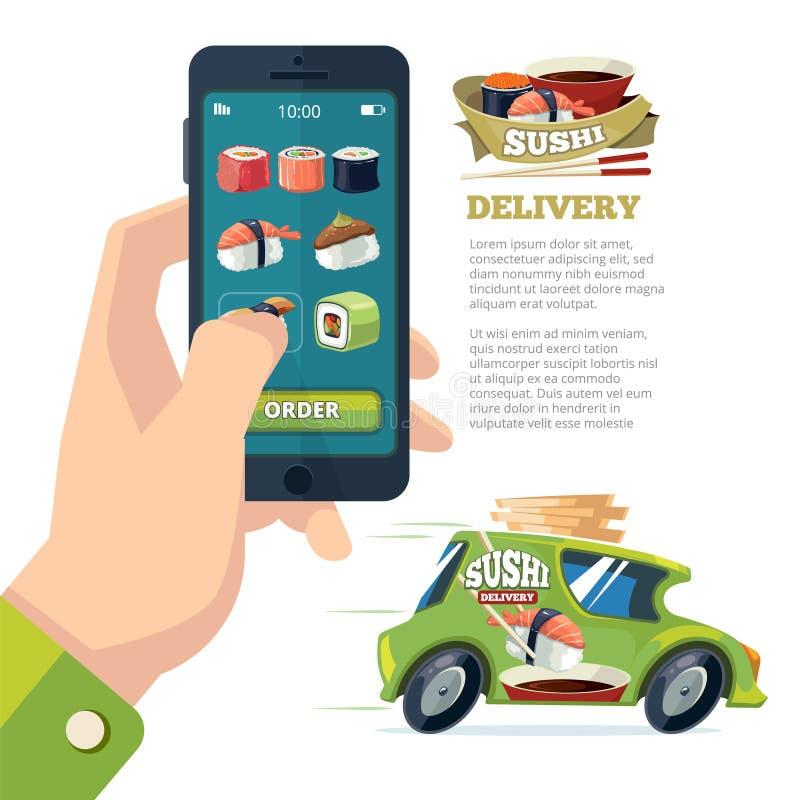 Order sushi online. man holding smartphone and vector illustration