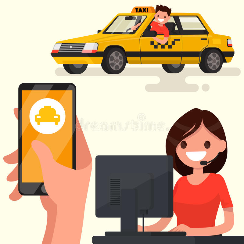 Order a taxi through the app on your phone. Vector illustration. Of a flat design stock illustration