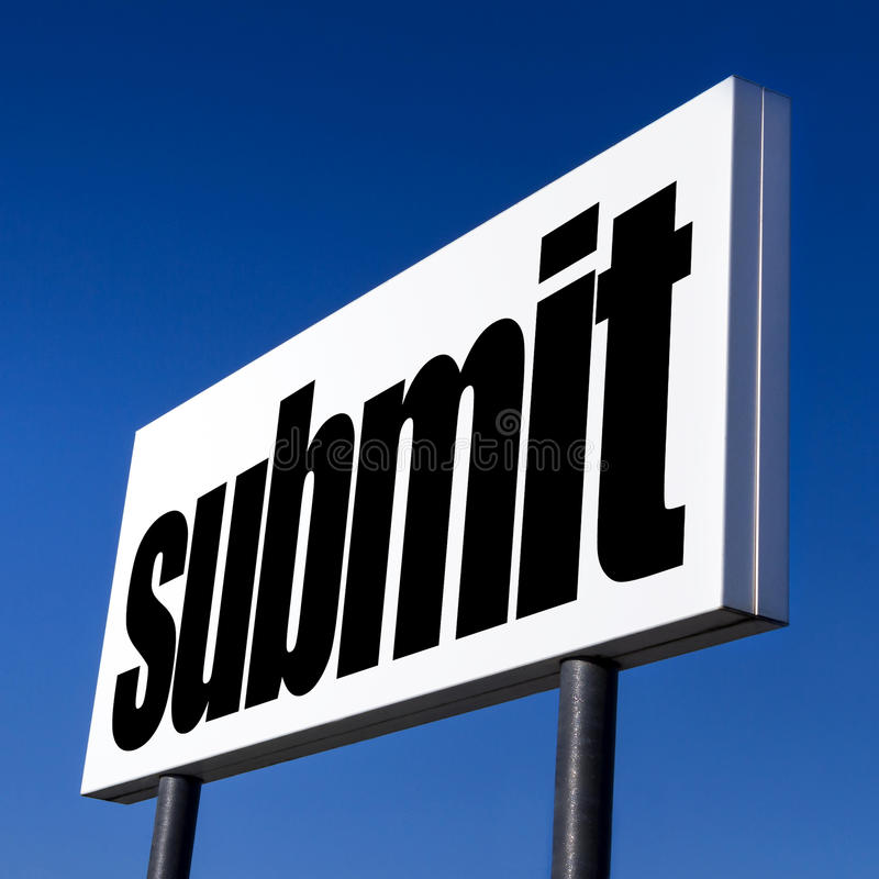 Order to submit. Horizontal billboard with the order to submit, against unreal blue sky. Abstract concept of consumerism, human mind control, power of royalty free stock images
