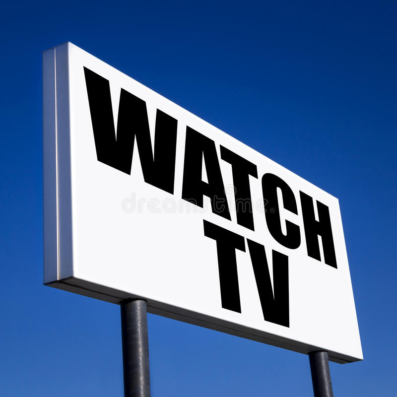 Order to Watch TV. Horizontal billboard with the order to Watch TV, against unreal blue sky. Abstract concept of consumerism, human mind control, power of royalty free stock photos