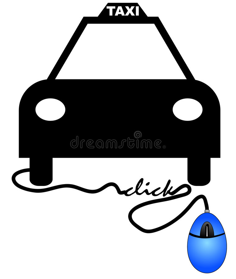 Ordering cab online. Concept of ordering a taxi online - taxi connected to computer mouse vector illustration