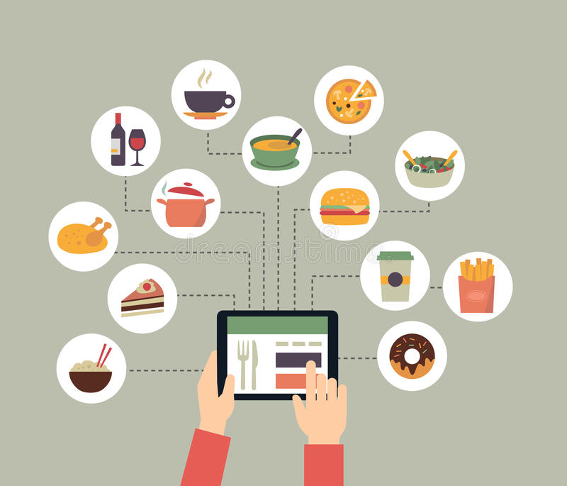 Ordering Food Online Stock Vector Illustration Of Media