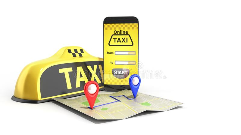 Ordering a taxi cab online internet service transportation concept navigation pin pointer with checker pattern and yellow taxi. And phone 3d render on white vector illustration