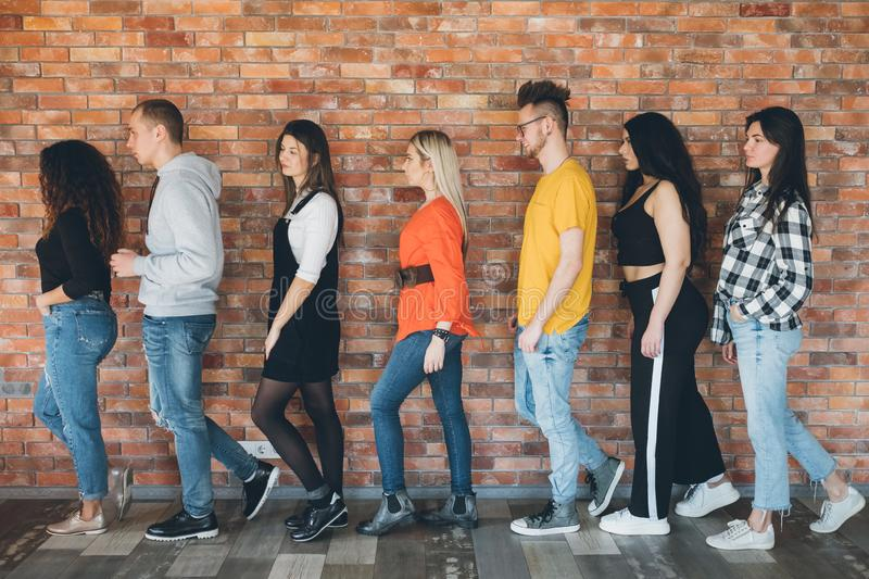 Orderly queue millennials anticipation hope belief royalty free stock image