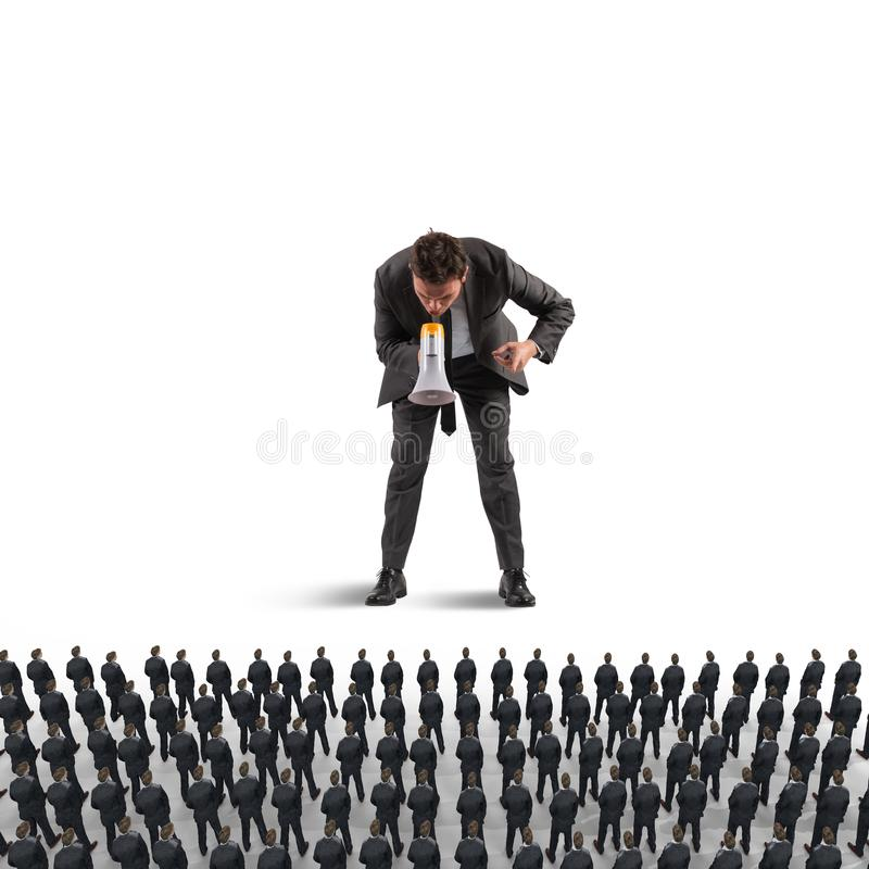 Orders from above. 3D Rendering. Big authoritative person commands the subordinates with the megaphone. 3D Rendering stock photos