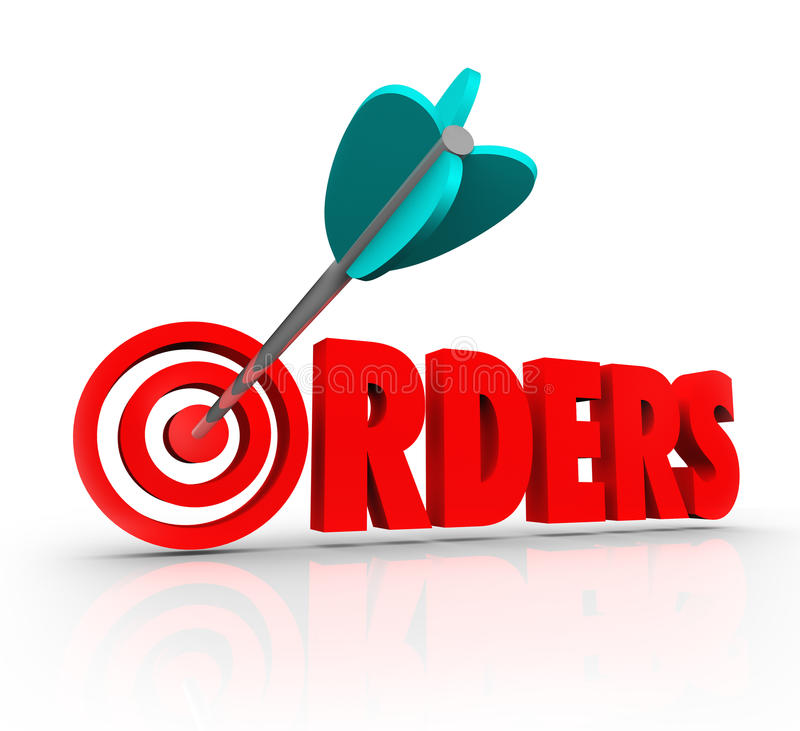 Orders 3D Word Arrow Target Purchasing Merchandise Store Sales royalty free illustration