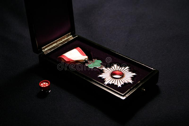 The Orders of the Rising Sun 6th class. The first world war. vintage. phaleristick royalty free stock photos