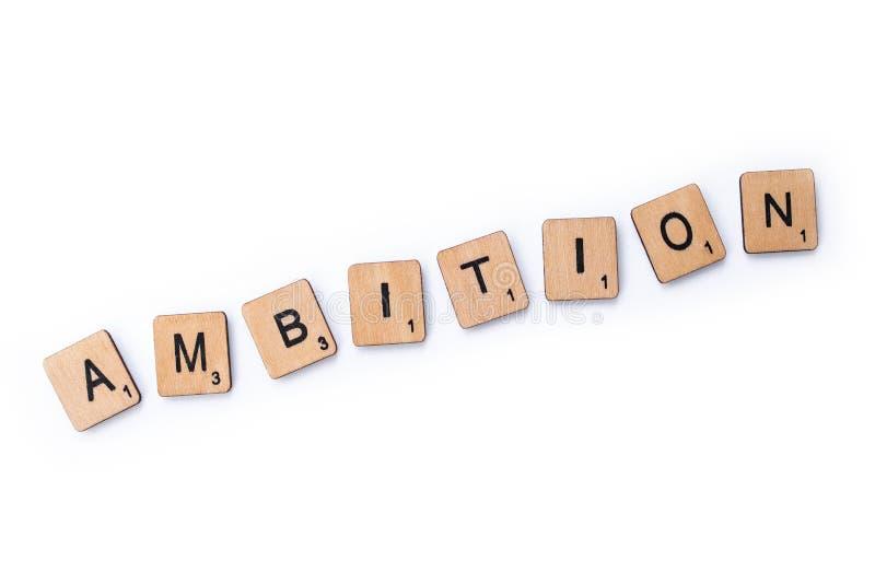 Ordet AMBITION fotografering för bildbyråer