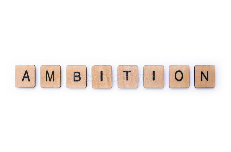 Ordet AMBITION arkivbilder