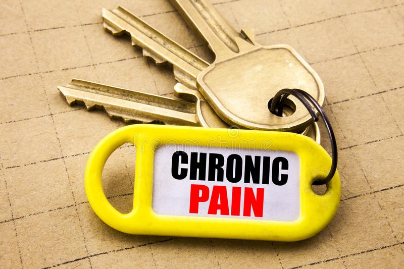 Ordet att skriva som är kroniskt, smärtar Affärsidé för mening av dålig dåligt omsorg som är skriftlig på nyckel- hållare, textur royaltyfria bilder