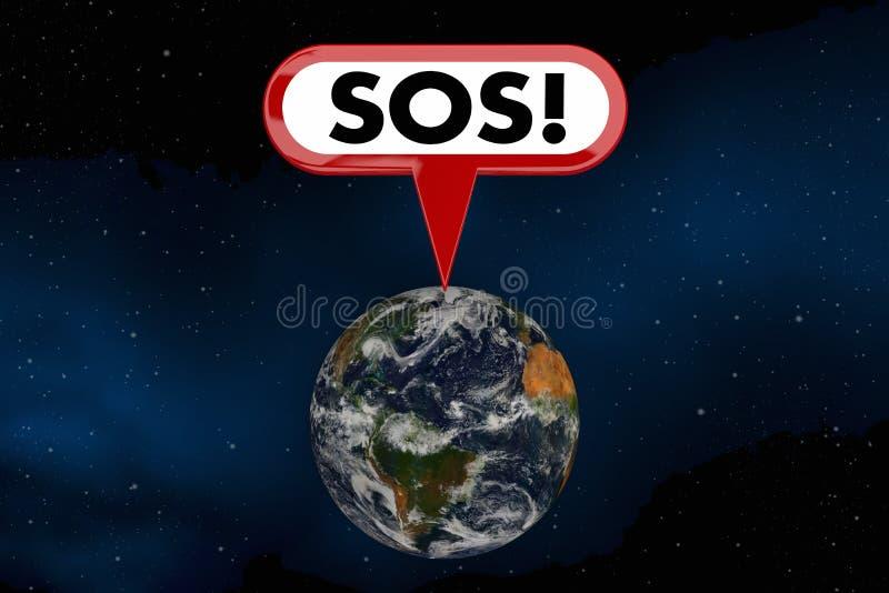 Ordet 3d för miljön för räddningen för hjälp för jord för SOSjordplaneten framför illustrationen royaltyfri fotografi