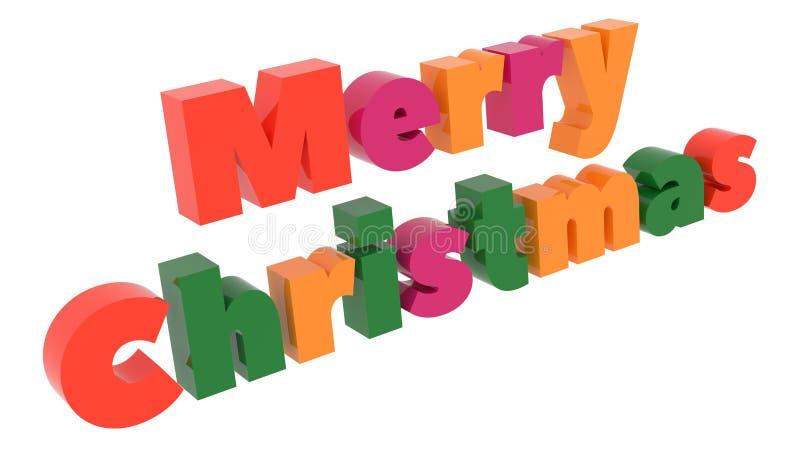 Ordet 3D f?r glad jul framf?rde text med den dj?rva roliga stilsortsillustrationen som f?rgades med Tetrad f?rger 6 grader royaltyfri foto