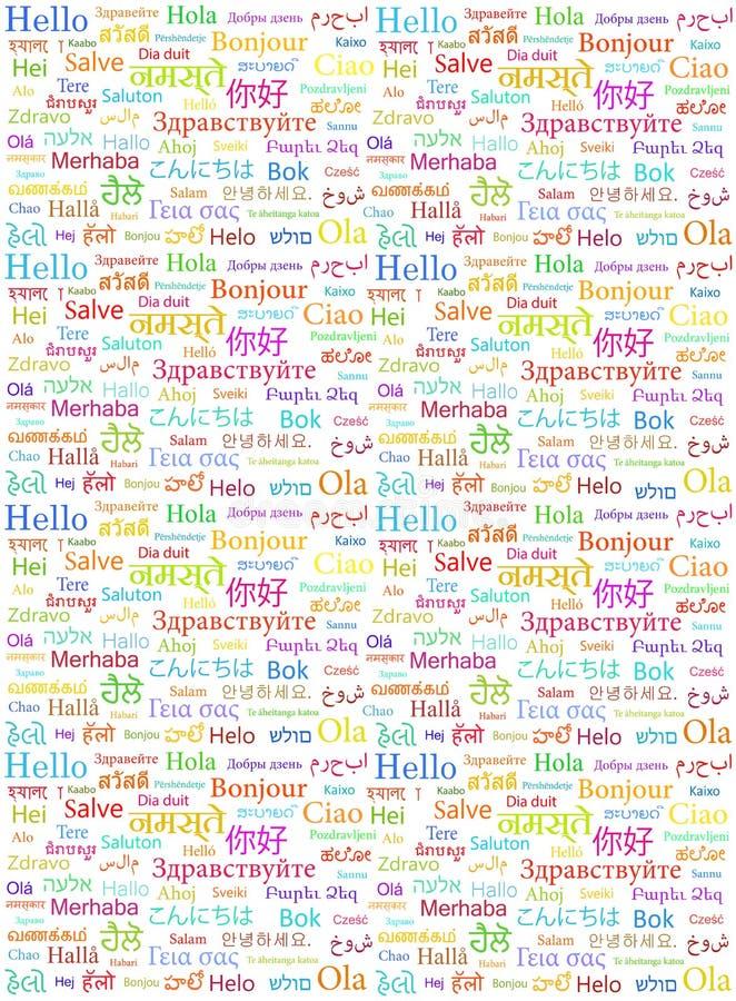 Ordet Hello som är skriftlig i olika världsspråk   stock illustrationer