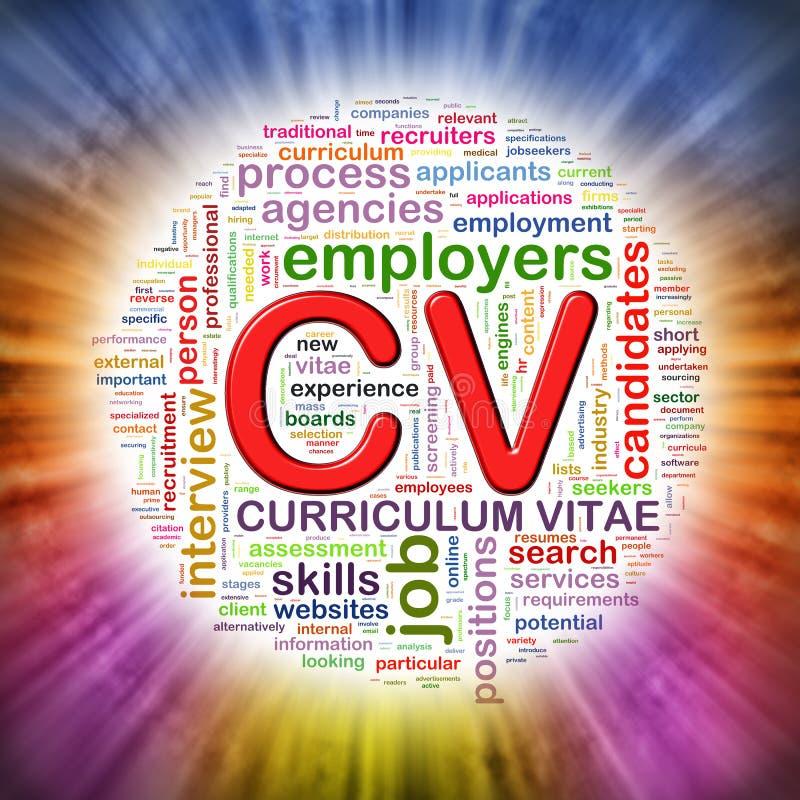 Ordet märker rund wordcloud av CV vektor illustrationer