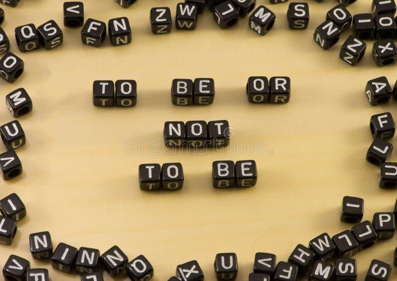 Ordet som är, är inte att vara arkivbild
