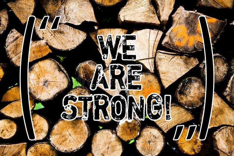 Ordet som skriver text är vi, starka Affärsidéen för har sunt kraftigt för stor styrka uppnå allt som är trä royaltyfri illustrationer