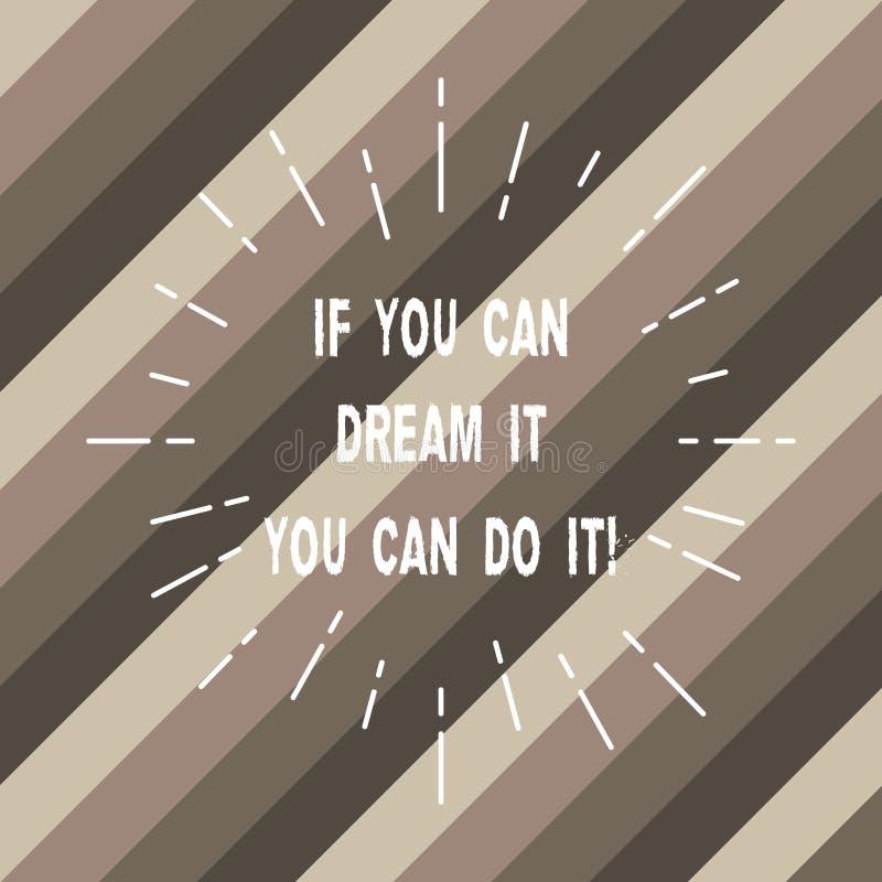 Ordet som skriver text, om du kan drömma den dig, kan göra den Affärsidéen för är i stånd till att uppnå, vad som helst dig att f arkivbild