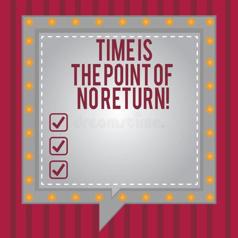 Ordet som skriver text Tid, är punkten av ingen retur Affärsidéen för stoppar inte vad du gör fyrkantigt anförande för motivation stock illustrationer