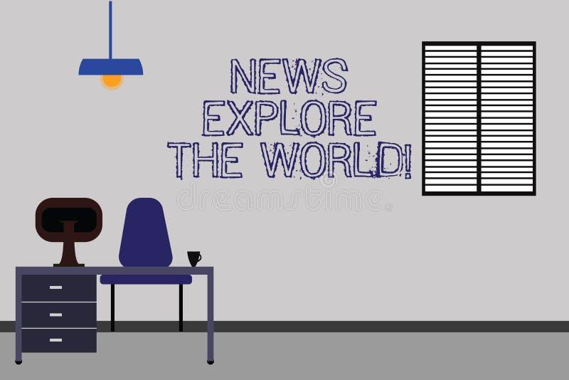 Ordet som skriver textnyheterna, undersöker världen Affärsidéen för globala massmediauppdateringar vet internationella frågor Wor royaltyfri illustrationer