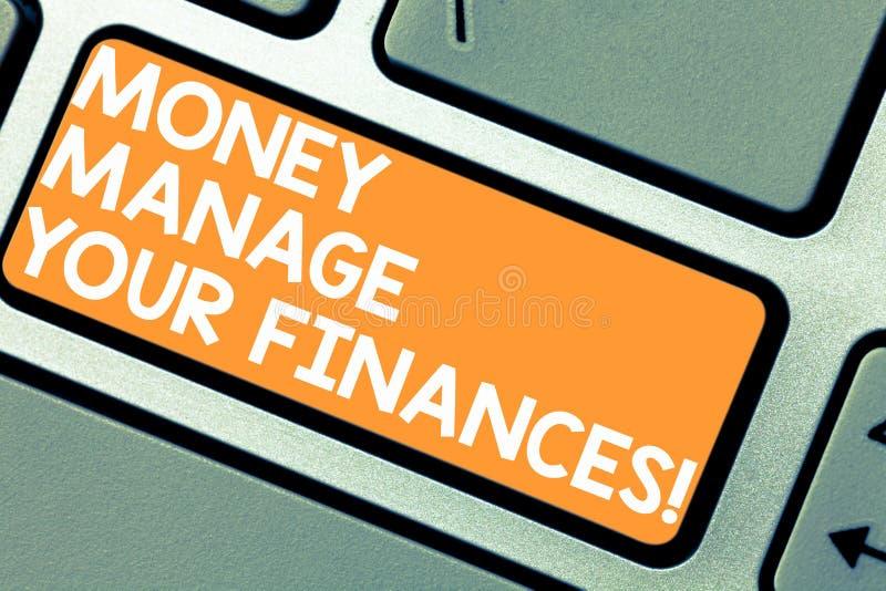 Ordet som skriver textpengar, klarar av dina finanser E arkivbilder