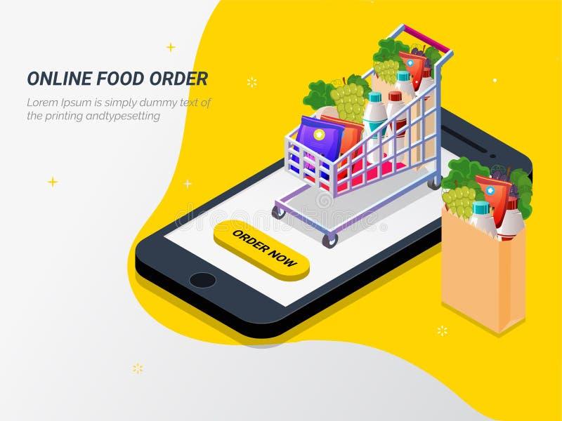 Ordevoedsel, kruidenierswinkel online van app door slimme telefoon Snel lever vector illustratie