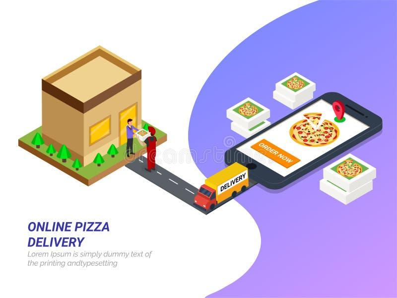 Ordevoedsel online van app door smartphone Snel delive voedselpizza stock illustratie