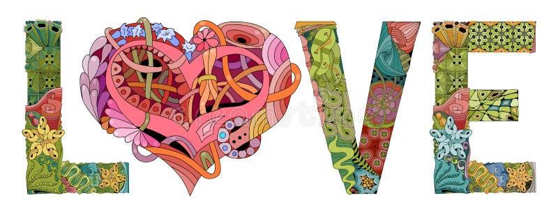 OrdFÖRÄLSKELSE med form av hjärta Dekorativt zentangleobjekt för vektor stock illustrationer